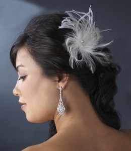 Ostrich feather hair fascinator