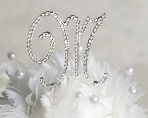 New French Script Monogram Cake Toppers