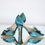 Couture Peacock &amp; Teal Bridal Shoes