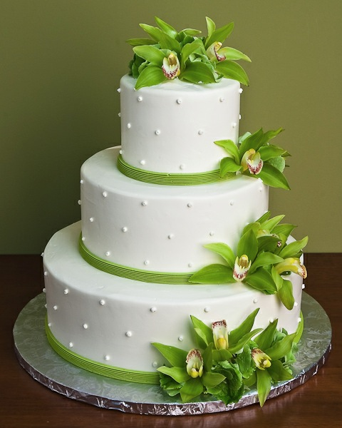 Dotted Swiss Orchid Wedding Cake by Jacques Fine European Pastries