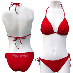 Red Custom Rhinestone Bikini
