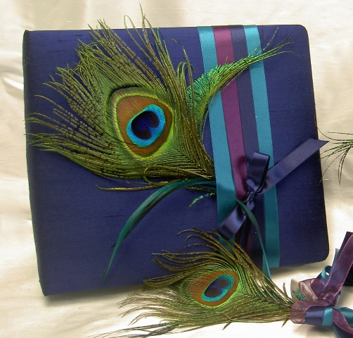 Navy Peacock Wedding Guest Book