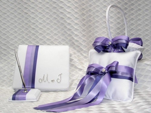 Shades of Purple Wedding Accessories Showing off their gorgeous gowns