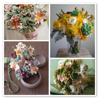 Modern Wedding Flowers on Eco Chic Wedding Flowers  Succulents