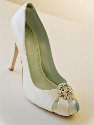 Valentine Bridal Shoes in Silk White or Pearl Ivory 210