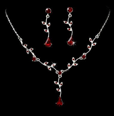 Red Rhinestone Prom Jewelry Set