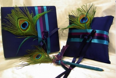 Peacock Guest Book, Pen and Ring Pillow
