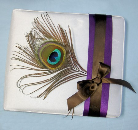 Peacock White Silk Guest Book