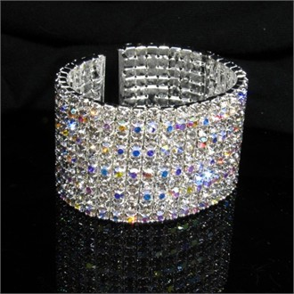 14 Row Crystal Bracelet - Stretch Cuff