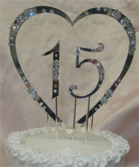 15th Anniversary Cake Topper - 15th Birthday Crystal Cake Topper - Quinceaneras Cake Topper