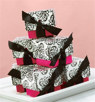 Filigree Black and White Favor Boxes with Fuchsia