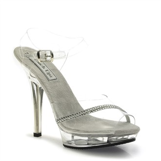 Lolita Rhinestone Platform Silver Evening Shoes by Touch Ups
