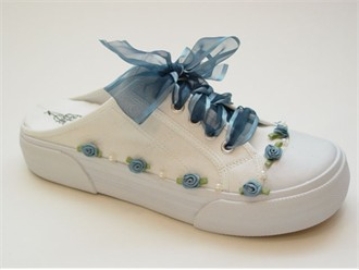 Antique Blue Savvy Sneaks - Decorated Bridal Tennies
