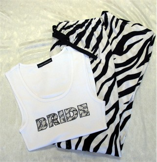Animal Print BRIDE Tank Top and Pajama Pants - Zebra Pajamas