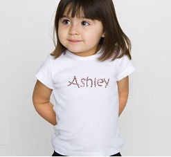 Custom Rhinestone Cotton Tee for Little Girls