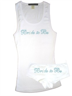 Bride To Be Something Blue  Crystal Tank and Boy Short Set