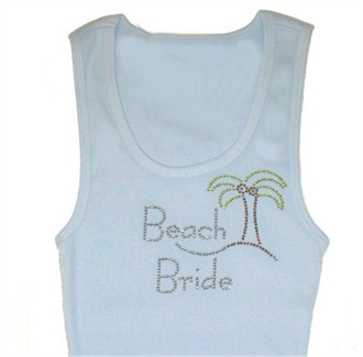 Beach Bride Crystal Tank or Tee with Palm Tree