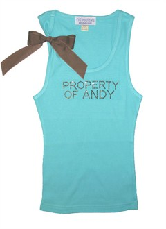 PROPERTY OF Custom Rhinestone Tank with Ribbon