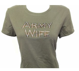 Rhinestone Army Wife T-Shirt or Tank