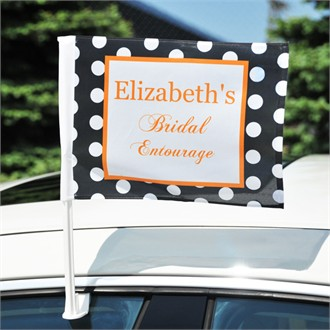 Polka Dot Bridal Entourage Bachelorette Party Car Flag