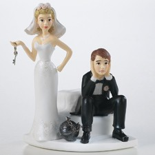 Ball and Chain Bride and Groom Figurine