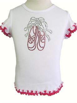 Ballet Slippers Rhinestone Ruffle Tee - Perfect for a Ballerina!