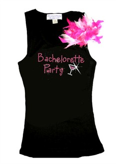 Rhinestone Bachelorette Party Tank or Tee  with Cocktail and Feather Clip
