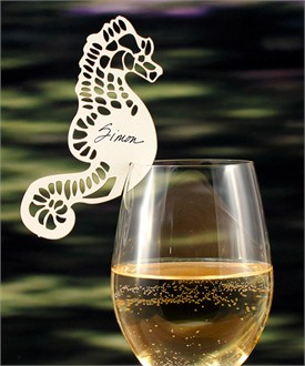 Laser Cut Seahorse Wine Glass Place Card