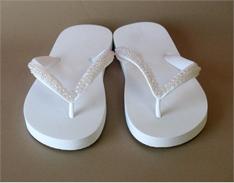 Cute New Beaded White Wedding Flop Flops