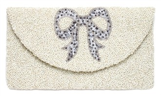Beaded Ivory Bridal Purse with Silver Bow