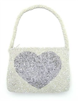 Heart Beaded Handbag in Ivory and Silver