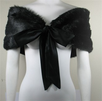Sable Pelt Wrap with Ribbon Ties