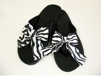 Black Flip Flops with Zebra Changeable Ribbons