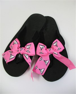 Black Flip Flops with Changeable Martini Ribbon Bows
