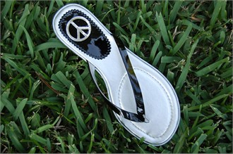 Black Patent Leather Sandals with Peace Sign