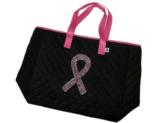 Rhinestone Pink Ribbon Tote Bag