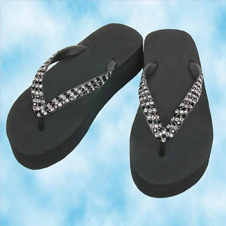 Black Lady Lanell Platform Flip Flops with Clear and Jet  Crystals
