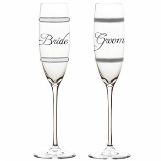 Bling Bride and Groom Toasting Flutes