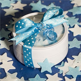 Round Tins filled with Blue & White Bath Confetti-4713