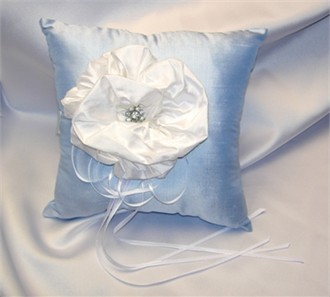 Silk Dupioni Blue Ring Bearer Pillow with Large Flower Accent