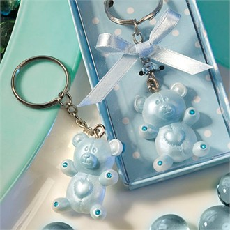 Baby Shower Favors Blue Teddy Bear Design Keychains-8319