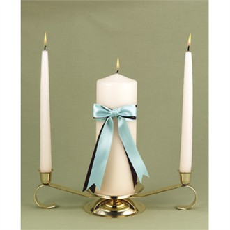 Brown and Aqua Ribbons Unity Candle