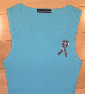 Breast and Ovarian Cancer Rhinestone Ribbon Tee or Tank