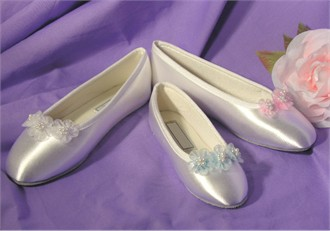 Adult Bridal Ballet Slippers with Delicate Organza Flowers and Pearls