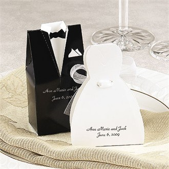 Personalized Bridal Gown Favor Boxes or Tuxedo Favor Boxes - Set of 25