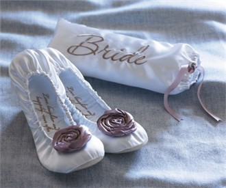 Bride Ballerina Flats with Bride Pouch