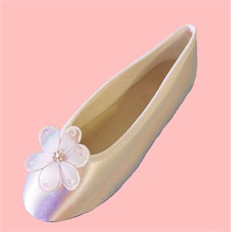 Dyeable White Satin Ballet Slippers with Flower Embellishment