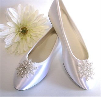 Bridal Ballet Slippers with Pearl and Bead Applique