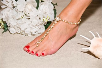 Gold Bridal Elegance Barefoot Sandals - Beach Wedding Foot Jewelry