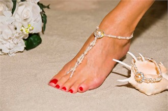 Silver Bridal Elegance Barefoot Sandals - Beach Wedding Foot Jewelry